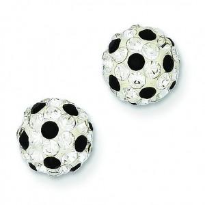 Black White Swarovski Crystals Post Earrings in Sterling Silver