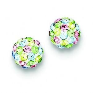 Multicolor Swarovski Crystal Post Earrings in Sterling Silver