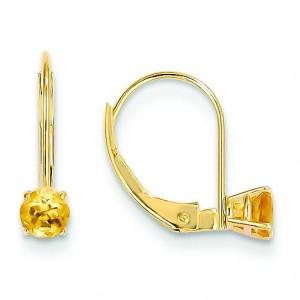 Citrine Leverback Earrings in 14k Yellow Gold