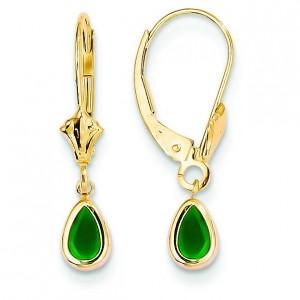 Emerald Earrings May in 14k Yellow Gold