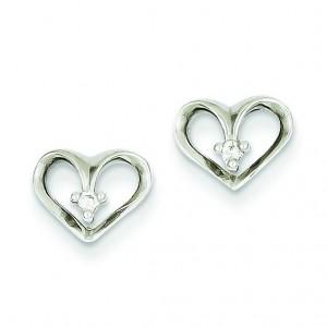 Diamond Heart Earrings in 14k White Gold (0.032 Ct. tw.) (0.032 Ct. tw.)