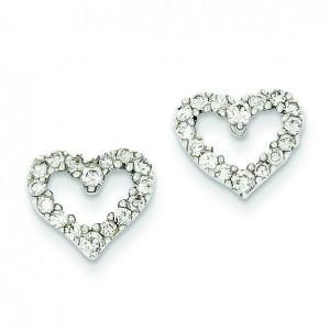 Diamond Heart Earrings in 14k White Gold (0.5 Ct. tw.) (0.5 Ct. tw.)