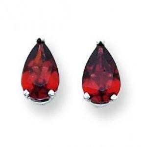 Pear Garnet Earring in 14k White Gold