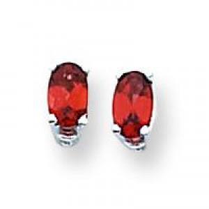Oval Garnet Earring in 14k White Gold