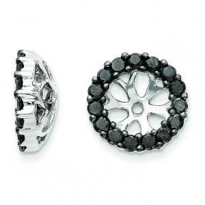 Black Diamond Earring Jackets in 14k White Gold