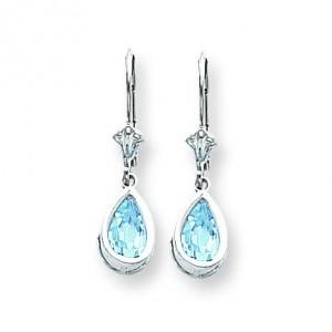 Pear Blue Topaz Leverback Earrings in 14k White Gold