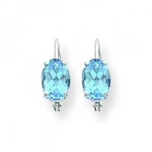 Oval Blue Topaz Leverback Earrings in 14k White Gold