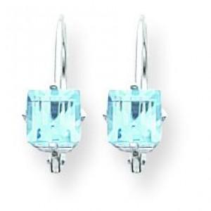 Princess Cut Blue Topaz Leverback Earrings in 14k White Gold