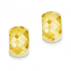 Diamond Cut Hinged Post Earrings in 14k Yellow Gold