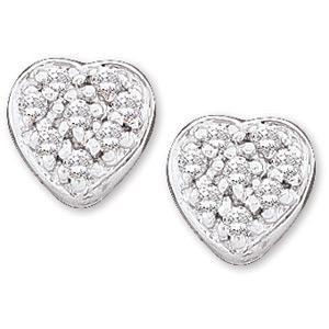 Diamond Heart Earring in 14k White Gold (0.1 Ct. tw.) (0.1 Ct. tw.)