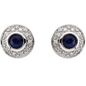 Blue Sapphire Diamond Earrings in 14k White Gold (0.1 Ct. tw.) (0.1 Ct. tw.)