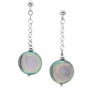 Black Coin Pearl Earrings in Sterling Silver