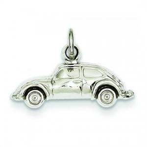 Car Charm in 14k White Gold