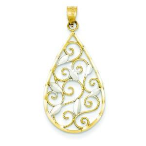 Diamond Cut Teardrop Pendant in 14k Yellow Gold