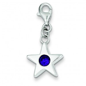 February CZ Birthstone Star Charm in Sterling Silver