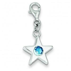 March CZ Birthstone Star Charm in Sterling Silver