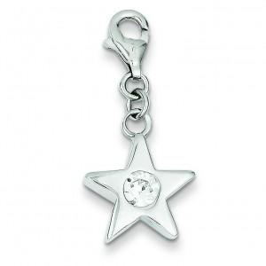 April CZ Birthstone Star Charm in Sterling Silver