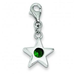 May CZ Birthstone Star Charm in Sterling Silver