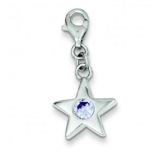 June CZ Birthstone Star Charm in Sterling Silver