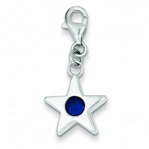 September CZ Birthstone Star Charm in Sterling Silver