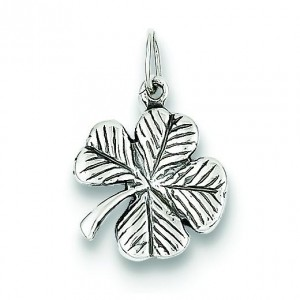 Antiqued Leaf Clover Charm in Sterling Silver