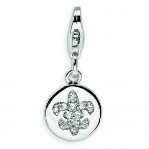 CZ Fleur De Lis Ornament Lobster Clasp Charm in Sterling Silver