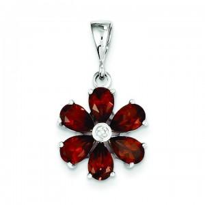 Garnet Diamond Flower Pendant in Sterling Silver