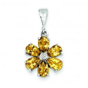 Citrine Diamond Flower Pendant in Sterling Silver