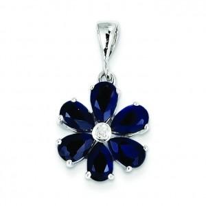 Dark Sapphire Diamond Flower Pendant in Sterling Silver