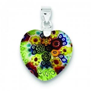 Multicolored Glass Heart Pendant in Sterling Silver