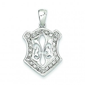 Fleur De Lis CZ Pendant in Sterling Silver