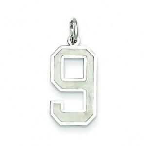 Medium Number 9 in Sterling Silver