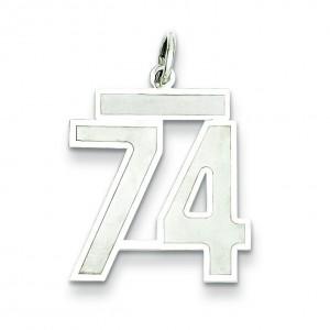 Medium Number 74 in Sterling Silver