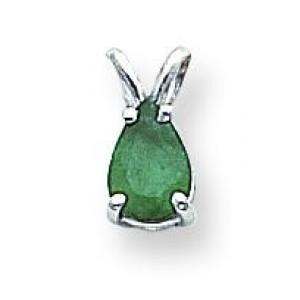 Emerald Pendant in 14k White Gold