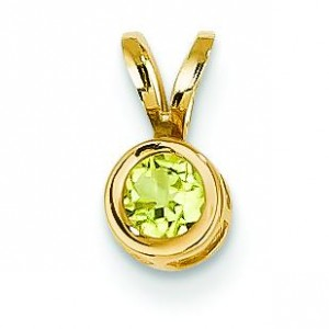 Peridot Bezel Pendant in 14k Yellow Gold