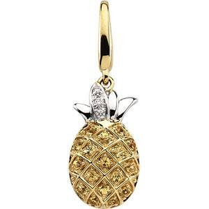 Sapphire Diamond Charm in 14k Yellow Gold