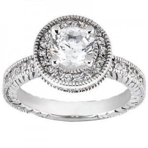 Round Antique Wedding Ring in14K Yellow Gold
